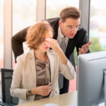 Salesperson frustrated with sales trainer